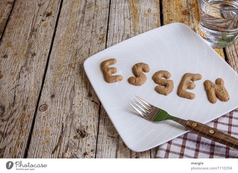 Essen Wasser Gesunde Ernährung Gesundheit braun Glas Schriftzeichen Tisch Trinkwasser Buchstaben Getränk Frühstück Wort Teller