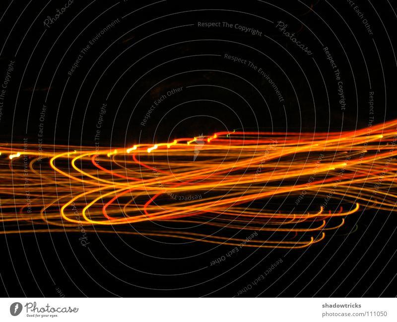 Vier Sekunden rot schwarz gelb Bewegung Wärme orange Brand Physik Lichtstreifen