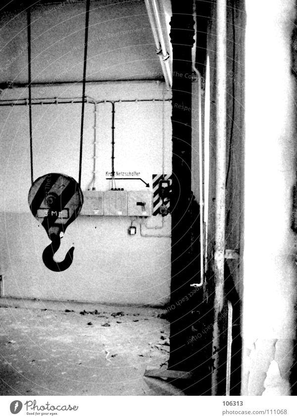 THE BIG FAKE Haken schwarz weiß Kran Elektrizität Seil Arbeit & Erwerbstätigkeit Zone Osten vergangen Vergangenheit Demontage Abrissgebäude Haus Wand Bauschutt
