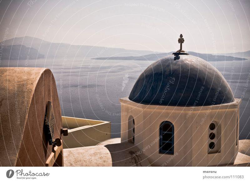 Oia Chapel Freude Meer Religion & Glaube Vergangenheit Aussicht Griechenland Mittelmeer traumhaft Gotteshäuser Santorin Caldera weiß-blau Kykladen