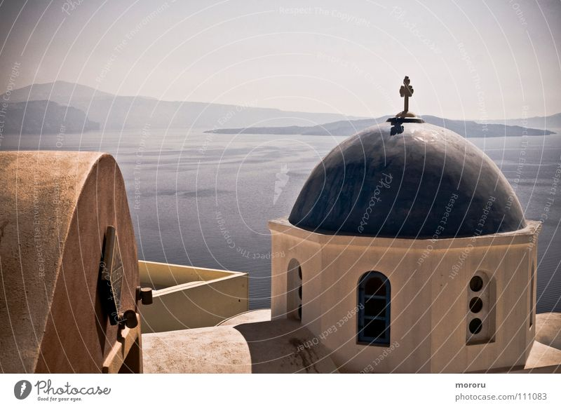 Oia Chapel Santorin Religion & Glaube Griechenland Kykladen Meer mehrfarbig traumhaft Caldera Gotteshäuser weiß-blau Vergangenheit Mittelmeer