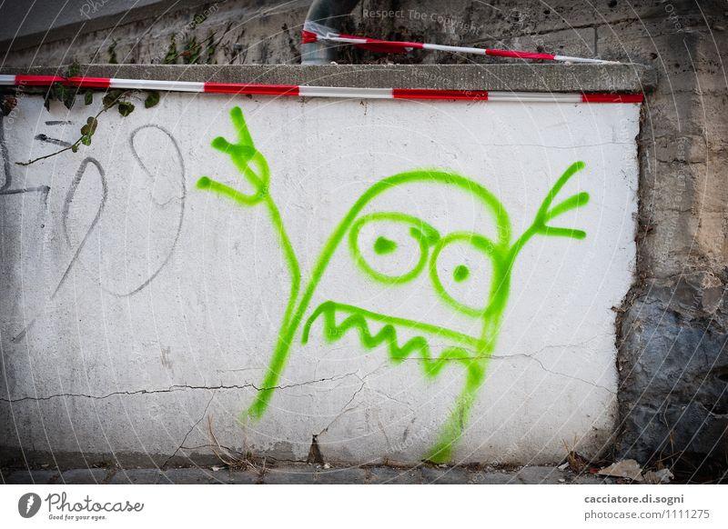 Buuhhh Mauer Wand Flatterband Barriere Warnband Graffiti Aggression außergewöhnlich bedrohlich dunkel frech lustig verrückt grau grün weiß Coolness Entsetzen