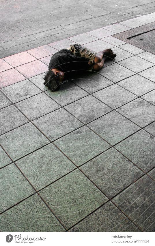 armut auf der strasse Einsamkeit Straße kalt Arme Armut Trauer Verzweiflung frieren Thailand Asiate Bettler