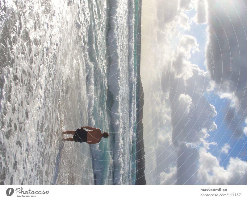 Viel Meer kann ich nicht Mensch Wasser Himmel Strand Wolken Sand Wellen Angst Panik