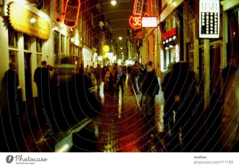 rotlicht Mensch Freude Farbe nass Ampel Amsterdam