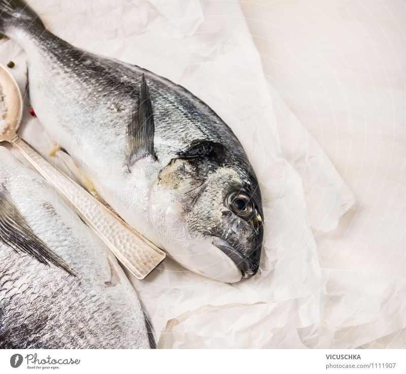Dorado Fisch auf weißem Papier Gesunde Ernährung Stil Hintergrundbild Foodfotografie Lebensmittel Design Tisch Kochen & Garen & Backen Küche Bioprodukte Diät