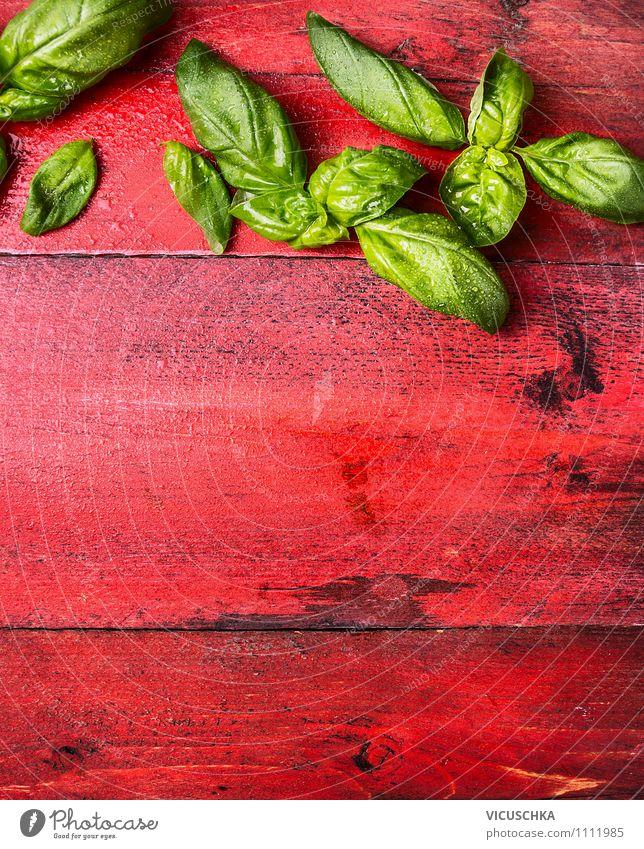 Basilikum auf rotem Holztisch Natur Blatt Gesunde Ernährung Leben Stil Hintergrundbild Garten Lebensmittel Design frisch Tisch Kräuter & Gewürze Küche