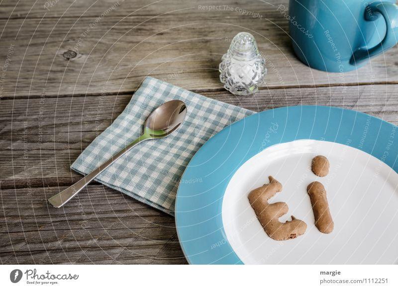 Ei blau Essen Gesundheit Lebensmittel Ernährung Getränk Buchstaben Kaffee dünn Appetit & Hunger Bioprodukte Übergewicht Geschirr Frühstück Tee Wort