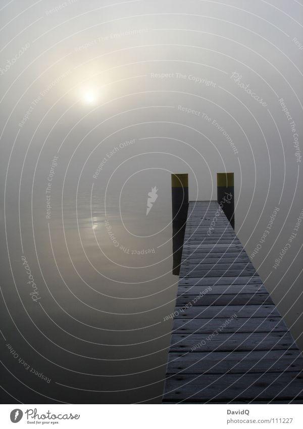 unklar Gewässer See Teich Binnensee Nebel Morgennebel grau schlechtes Wetter dunkel Tau Waschhaus Wasseroberfläche Reflexion & Spiegelung Steg Anlegestelle