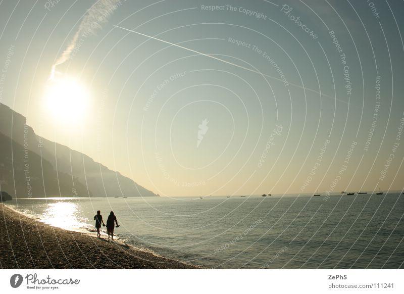 walk to morning Sonne Meer Strand ruhig 2 Küste Frieden Oberfläche