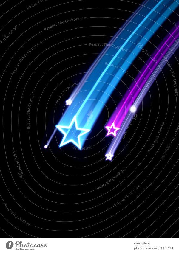 sorry my stars 2014 Himmel blau Weihnachten & Advent Lampe Kunst Party Design Stern Show fallen Zeichen Weltall Kitsch Postkarte violett Disco