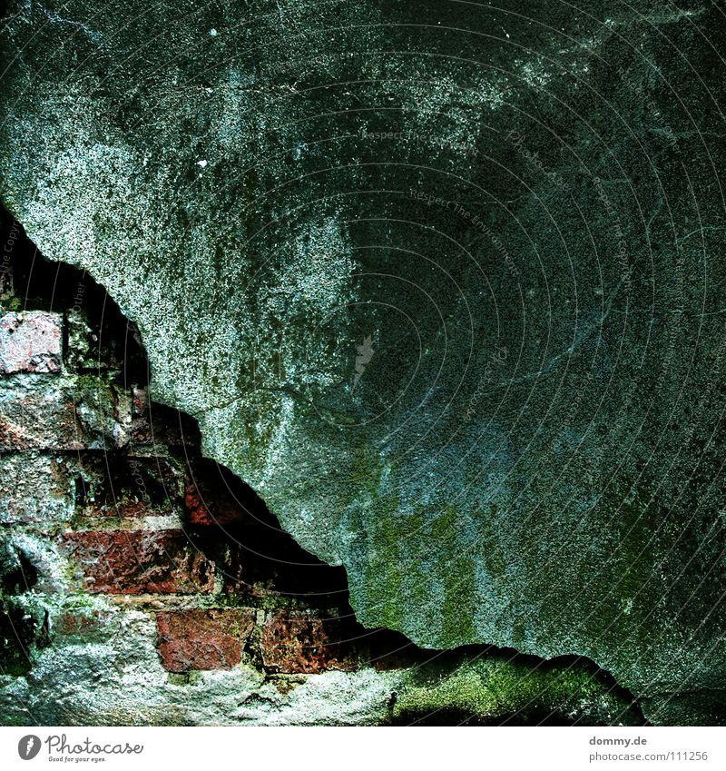 another brick Mauer Backstein rot Beton Mörtel Zement gebrochen HDR dunkel dreckig Ecke grün Grünspan Wachstum aufwachen Langzeitbelichtung verfallen Stein