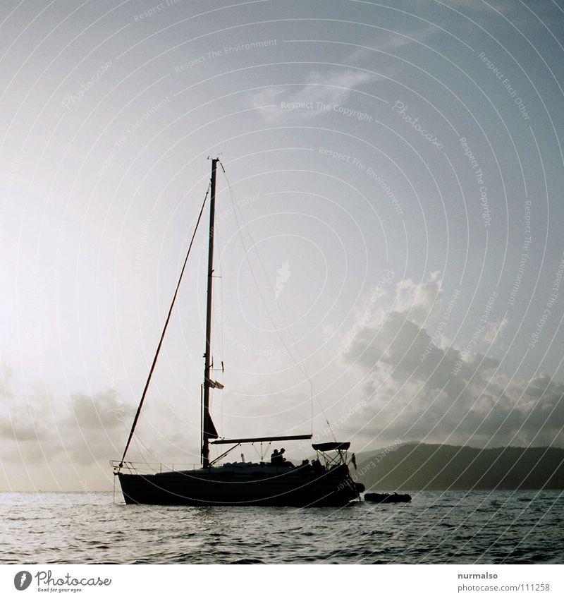 Guter Morgen III Meer Sommer Spielen Wärme See Stimmung Wasserfahrzeug Freizeit & Hobby liegen Vertrauen Physik Bucht Schifffahrt Strommast Amerika Segel