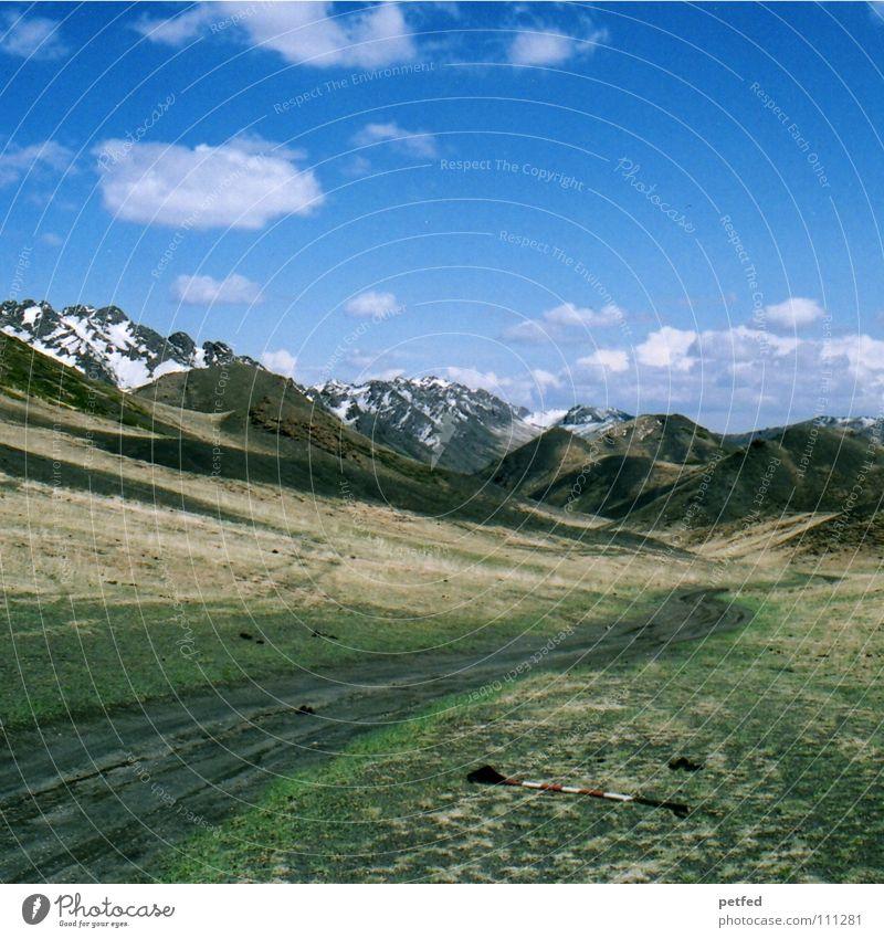 Herrliche Mongolei Himmel grün Sommer Ferien & Urlaub & Reisen Wolken Winter Einsamkeit Ferne Leben kalt Schnee Berge u. Gebirge Landschaft wandern Kultur