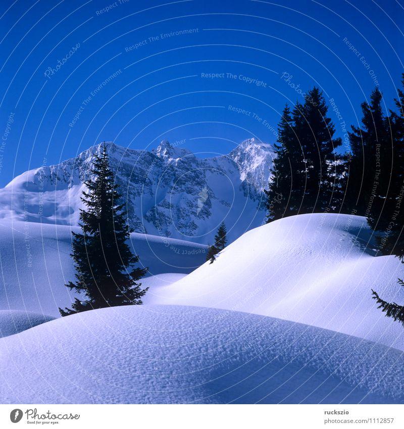 Winterlandschaft; Warth, Arlberg Schnee Berge u. Gebirge Natur Landschaft Baum Wald Alpen Gipfel kalt Berg Arlberg Arlberggebiet Eis Eindruck