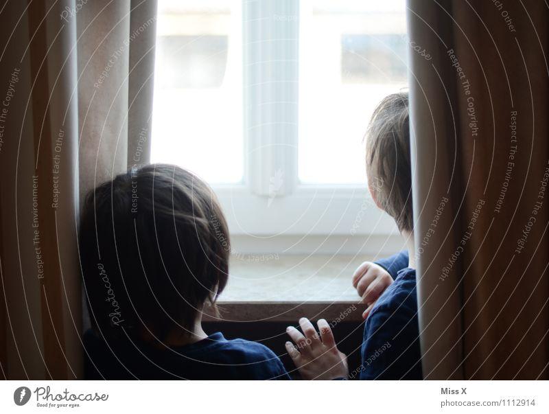 Wann kommt Papa? Mensch Kind Kleinkind Junge Geschwister Bruder Familie & Verwandtschaft Kindheit Kopf 2 1-3 Jahre 3-8 Jahre Fenster Blick warten Gefühle
