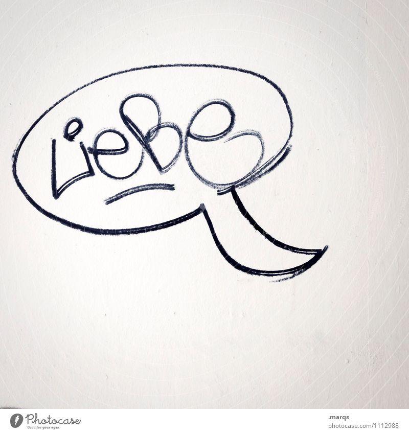 In den Mund gelegt weiß schwarz Wand Liebe Gefühle Graffiti sprechen Mauer Zusammensein Schriftzeichen Kommunizieren Zeichen Romantik Verliebtheit Sprechblase