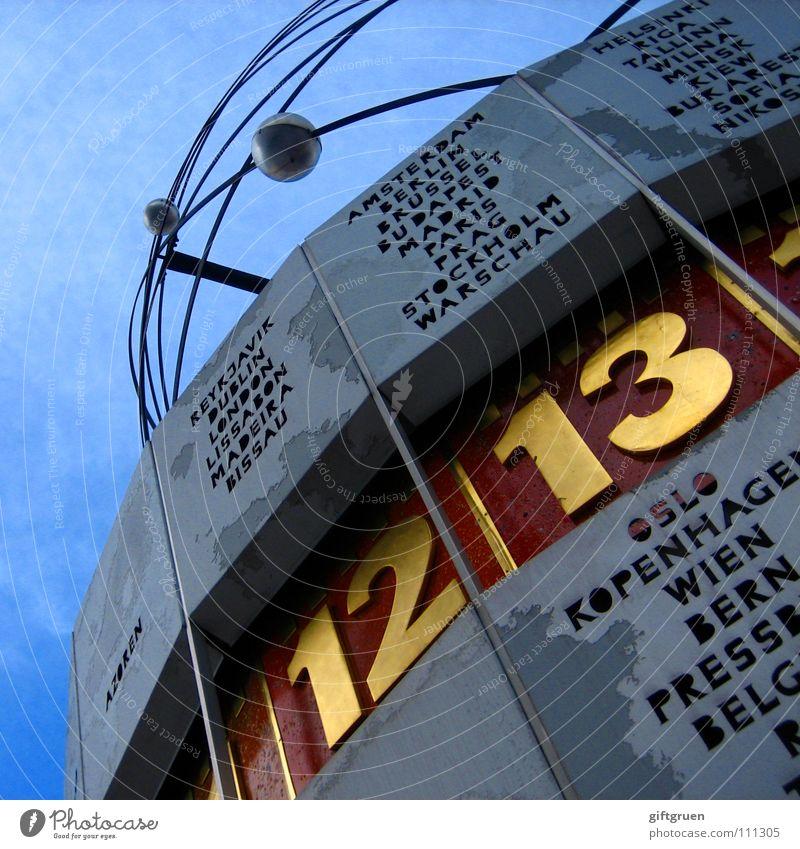 berlin, 13:00 cet Himmel blau Berlin Erde Kunst Zeit Uhr Ziffern & Zahlen Denkmal Wahrzeichen Berlin-Mitte Sehenswürdigkeit Sightseeing Planet Alexanderplatz