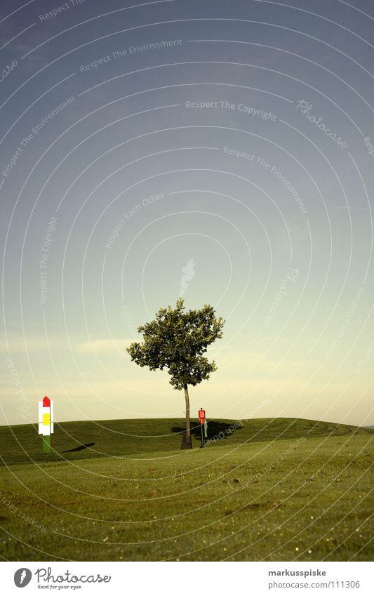 golfplatz Feld Golfball Golfplatz Gras grün Himmel Sonnenaufgang Abschlag Ballsport Ass golf course grass pitch Rasen sky sports Tee verhaften Loch par range