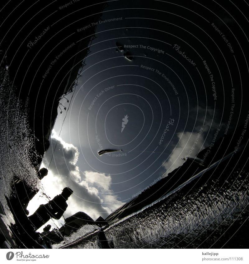 underwaterlove Pfütze Herbst Frau Mantel Reflexion & Spiegelung Haus Wohnung Mieter Vermieter Blatt Baum laublos nass feucht grau schlechtes Wetter