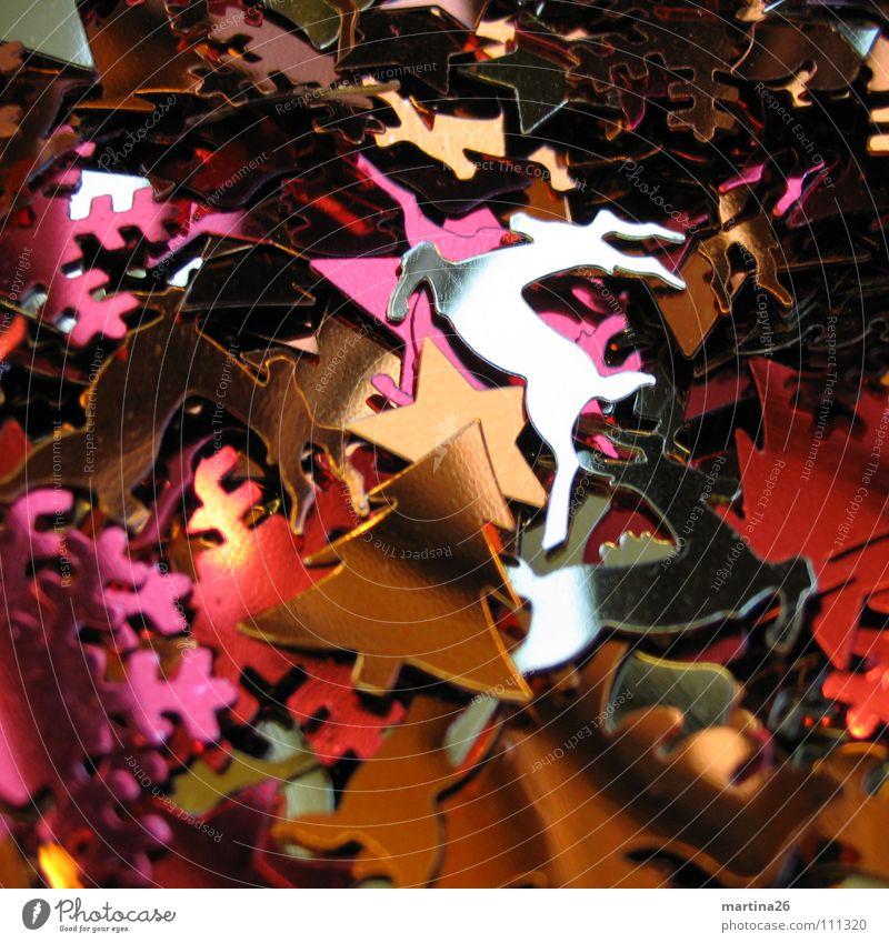 Weihnachtskonfetti Weihnachten & Advent Metall glänzend gold mehrere Dekoration & Verzierung Tanne viele silber durcheinander Hirsche Haufen Konfetti Reh