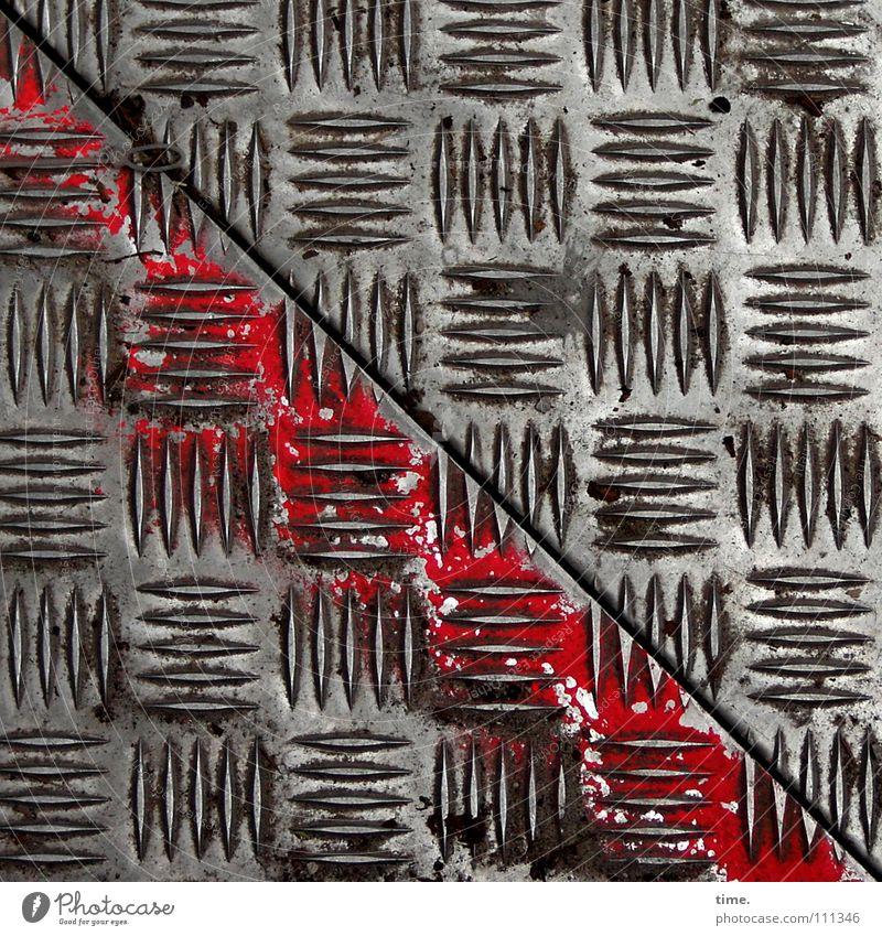 BauStellenProfil (I) schön rot Luft Metall Kunst Arbeit & Erwerbstätigkeit dreckig leer Sicherheit Baustelle Spuren diagonal Handwerk Fuge Eisen Furche