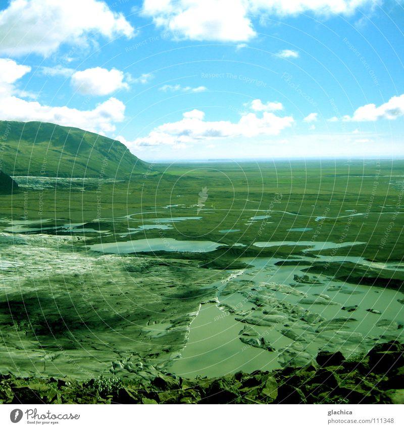 endlos in island Wasser Himmel grün blau Ferien & Urlaub & Reisen ruhig Wolken kalt See Sand Regen Landschaft Eis Wetter Erde Ausflug
