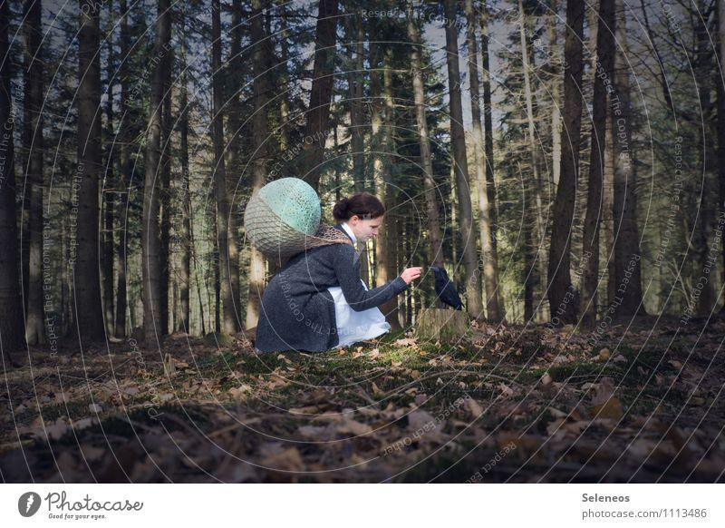 Krähenflüsterin Mensch feminin Frau Erwachsene 1 Umwelt Natur Wald Tier Vogel Rabenvögel hocken Warmherzigkeit Sympathie Freundschaft Zusammensein Tierliebe