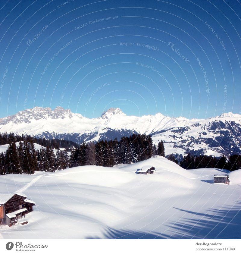 Bergidylle III Himmel weiß Baum Sonne blau Winter Wald kalt Schnee Berge u. Gebirge Wege & Pfade Landschaft braun Dach Schweiz Klarheit