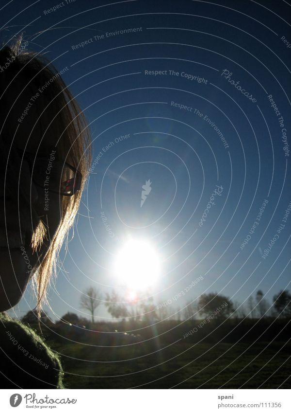Herbstsonne Gegenlicht Frau Baum Horizont Silhouette Sonnenuntergang Blauer Himmel Haare & Frisuren Gesicht Schatten helles Licht