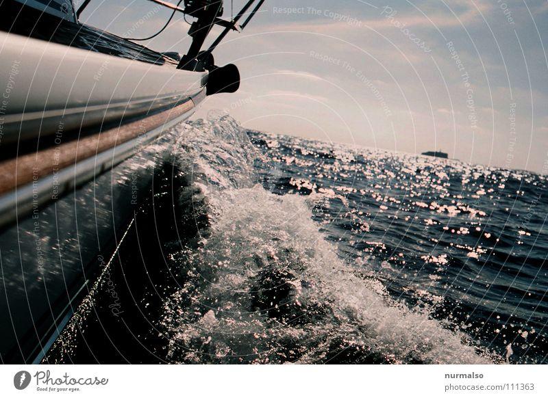 Wohin wirds wohl gehn? Zukunft Horizont Sauberkeit groß Meer Wasserfahrzeug Segelboot See Meerwasser Wellen fahren Reling Oberkörper ökologisch alternativ