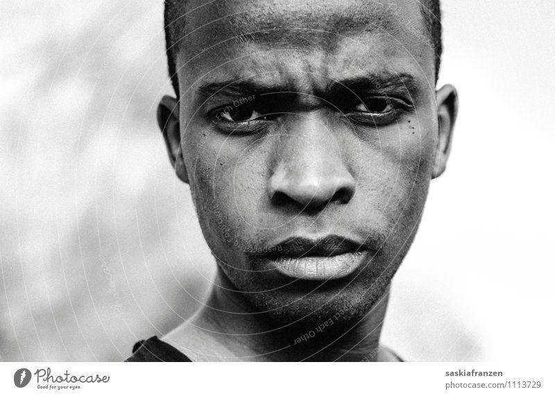 The look. Mensch maskulin Junger Mann Jugendliche Erwachsene Gesicht 1 18-30 Jahre Aggression bedrohlich kalt nah rebellisch stark Wut Frustration Kraft Afrika