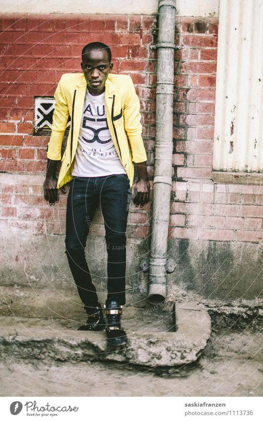 Just don't bother me. Lifestyle schön Haus maskulin Junger Mann Jugendliche Erwachsene Körper 1 Mensch 18-30 Jahre Kunst Mauer Wand Mode Bekleidung sitzen