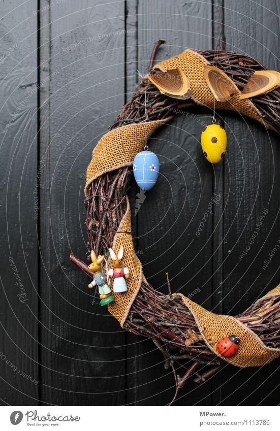 osterkranz der fünfte Holz Vorfreude Ostern Kranz Osterei Tür Dekoration & Verzierung Osternest blau gelb gepunktet geflochten Handarbeit gebastelt Farbfoto