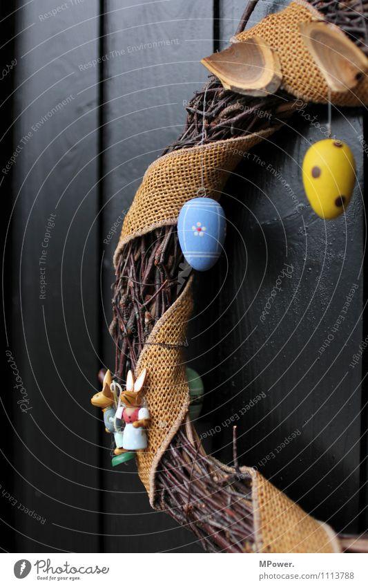 osterkranz der dritte Holz Vorfreude Ostern Kranz Osterei Tür Dekoration & Verzierung Osternest blau gelb gepunktet geflochten Handarbeit gebastelt Farbfoto