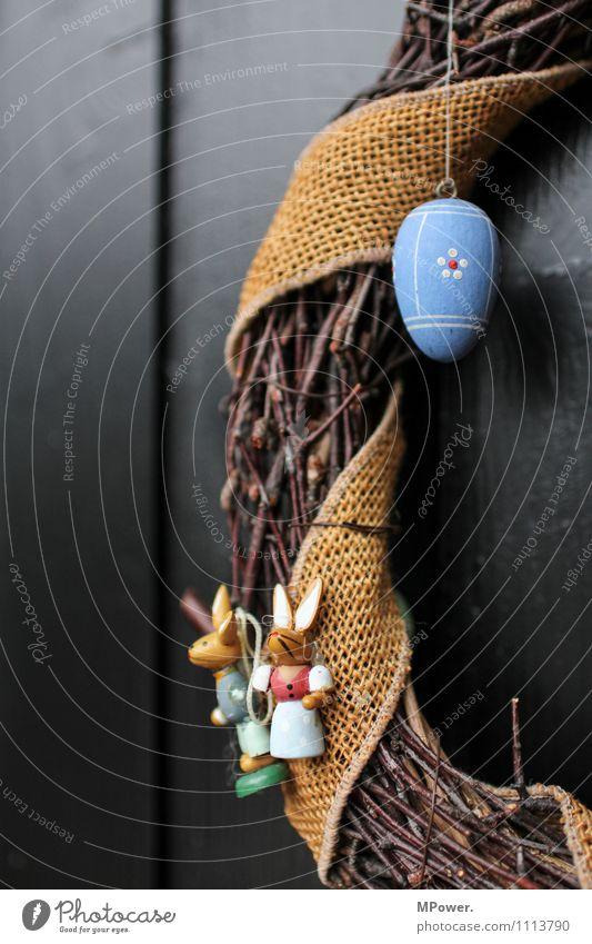 osterkranz der zweite Osterhase 2 Hase & Kaninchen Gesteck schwarz Holz Vorfreude Ostern Kranz Osterei Autotür Dekoration & Verzierung Osternest blau gelb