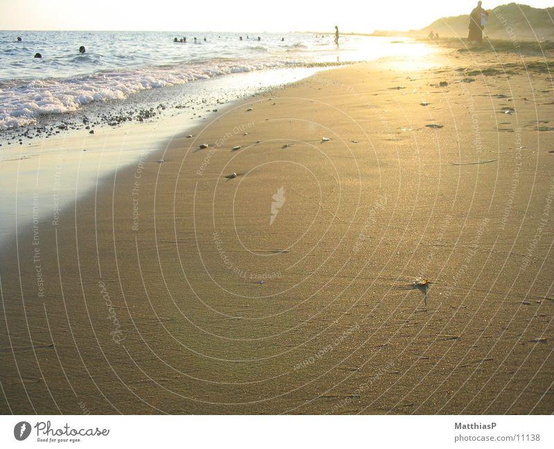 Sonnenuntergang Meer Sommer Strand Sand Küste Europa Mittelmeer