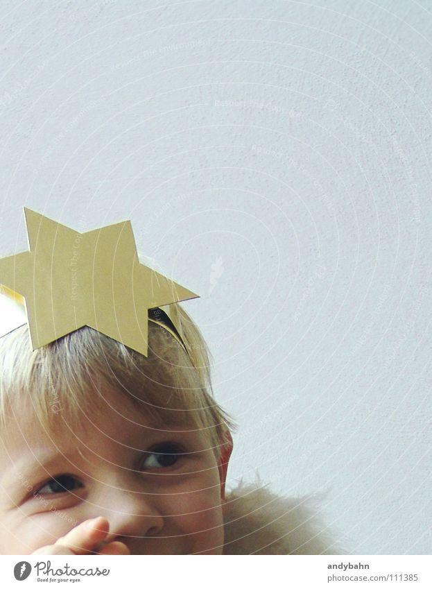 Engelchen Haare & Frisuren Feste & Feiern Kind Junge Kindheit Kopf 1 Mensch Maske blond Weihnachten Stern (Symbol) süß gold Glaube Weihnachten & Advent