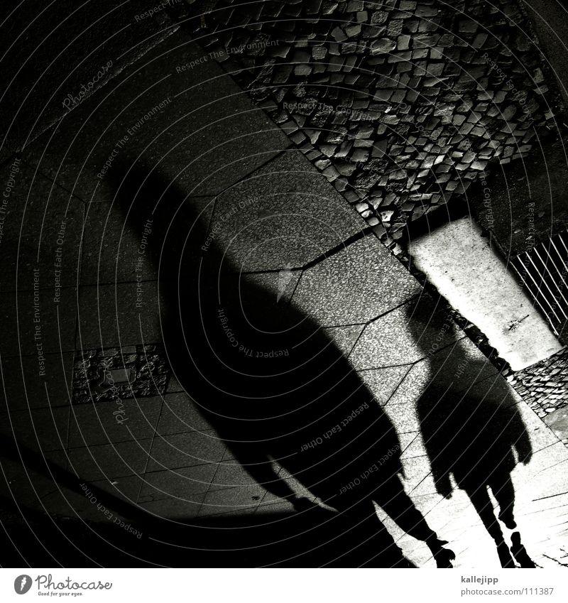 probiers mal mit gemütlichkeit Frau Mann schwarz Stein Arbeit & Erwerbstätigkeit laufen mehrere Spaziergang Schnur Bürgersteig Theaterschauspiel Schüler