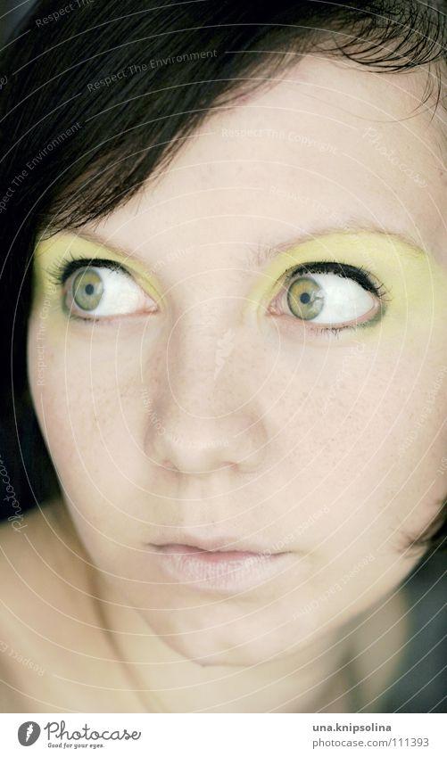 weil heute mein geburtstag ist... Freude Schminke Karneval Junge Frau Jugendliche Auge grün Mittelpunkt Kajal kulleräugig Porträt brünett sommerlich Gesicht