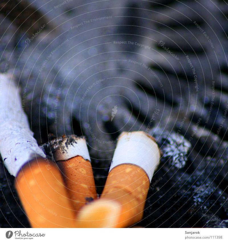 Wer früher stirbt, ist länger tot weiß schwarz Tod grau Feste & Feiern orange dreckig Brand Suche Rauchen Müll Zigarette obskur Geruch Ekel
