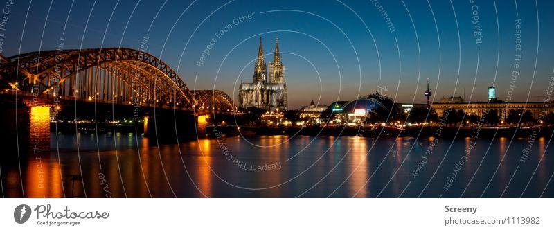 Postkarte aus Köln #3 Wasser Himmel Wolkenloser Himmel Sonnenaufgang Sonnenuntergang Sommer Fluss Rhein Stadt Stadtzentrum Altstadt Skyline Kirche Dom Brücke