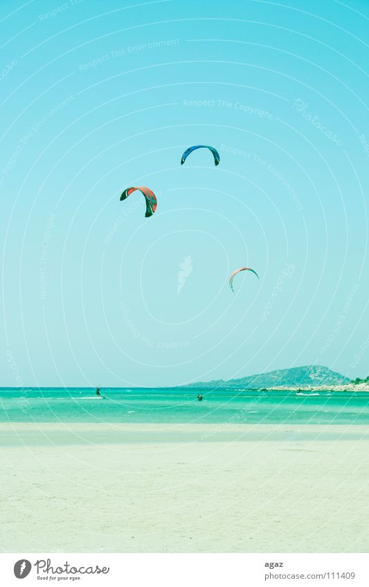 Kitesurfing Mensch Mann Ferien & Urlaub & Reisen Sommer Meer Freude Strand Sport Spielen Freizeit & Hobby fliegen stehen festhalten heiß Surfen Wassersport