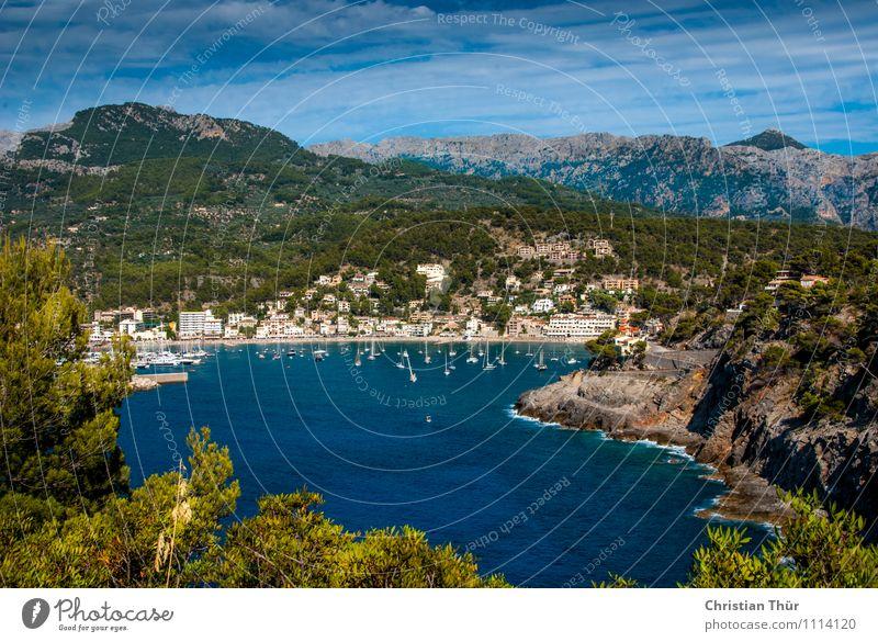 Bucht im Sommer Ferien & Urlaub & Reisen Sonne Baum Erholung Meer Wolken Strand Ferne Wald Berge u. Gebirge Leben Gras Küste Freiheit Tourismus