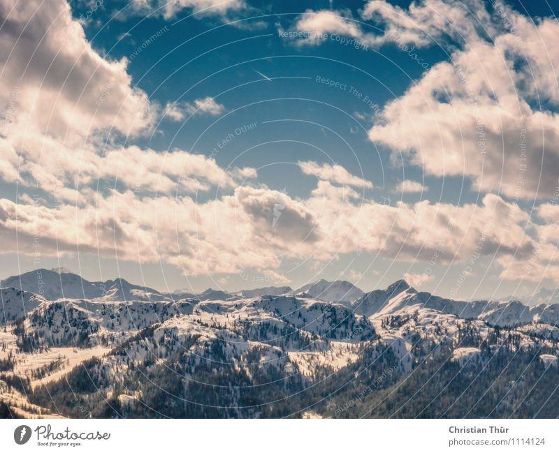 200 - Über den Alpen Natur Erholung Landschaft Wolken Ferne Winter Berge u. Gebirge Leben Schnee Sport Freiheit Zufriedenheit Eis Tourismus Ausflug beobachten