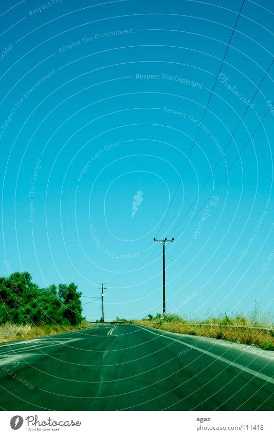 Strasse Baum fahren genießen Elektrizität Horizont grün gelb Physik Wind Verkehrswege Street Straße sommer blau Himmel Wärme