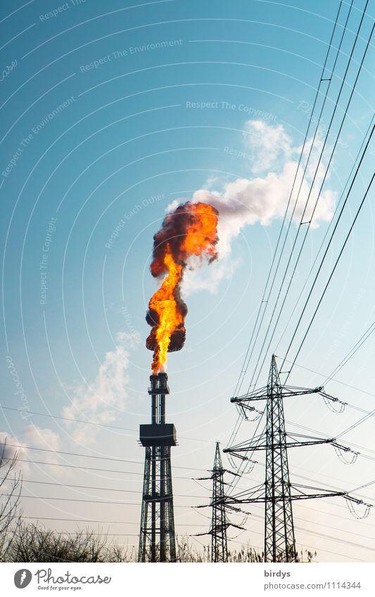 Störfall im Chemiewerk Industrie Feuer Wolkenloser Himmel Schönes Wetter Industrieanlage Turm Schornstein Rauch CO2 authentisch gigantisch heiß hoch