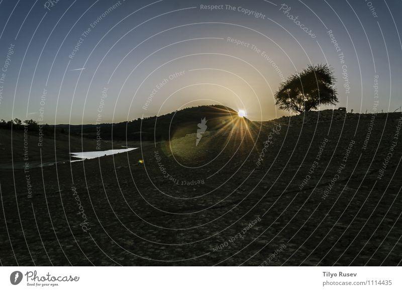 Dunkler Sonnenaufgang schön Natur Landschaft Himmel Baum Platz dunkel natürlich blau schwarz Sonnenuntergang friedlich farbenfroh Licht Stern Spanien Europa