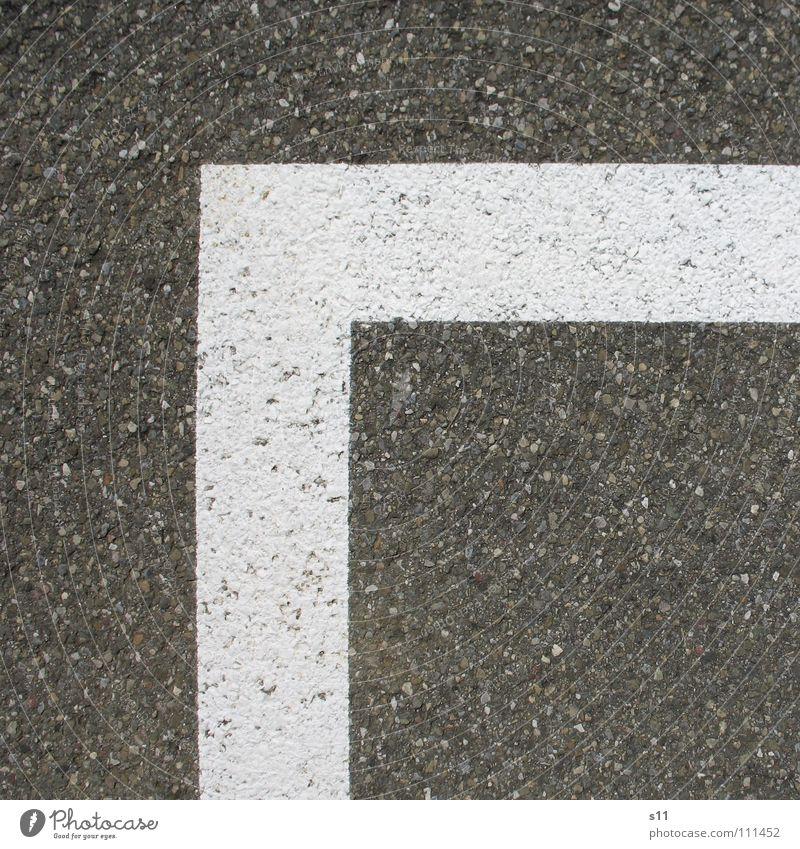 Grenze eckig Quadrat Parkplatz Asphalt Teer weiß Verkehrswege Linie Straße Ecke spitzig