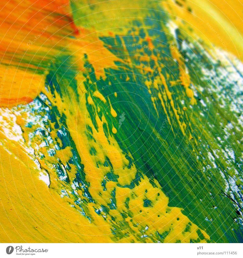 Farbspuren Pinselstrich Gemälde Kunst mehrfarbig Ton-in-Ton gelb grün rot weiß Hintergrundbild Farbe Kunsthandwerk Kraft streichen Kreativität orange mischen
